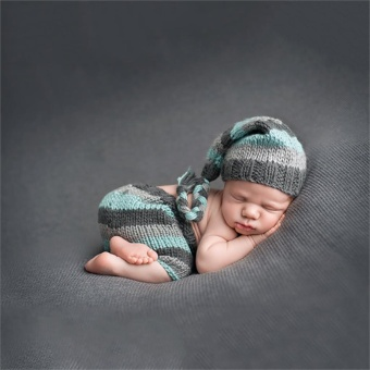 Baby Newborn Photography Props Handmade Knit Crochet Costume Striped Hat And Pants For 0 to 6 Months Girl Boy - intl