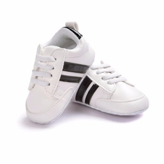 Baby Shoes Soft Bottom Anti-skid PU Leather Shoe For Infant ToddlerBoys Girls(L,White & Black stripes) - intl