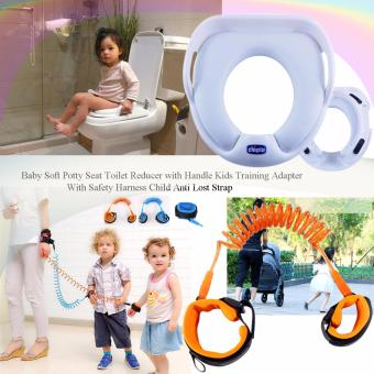 Baby soft potty seat toilet reducer with handle kids trainingadapter children Chicco toilet training seat (White) with SafetyHarness Child Anti Lost Strap (Orange)