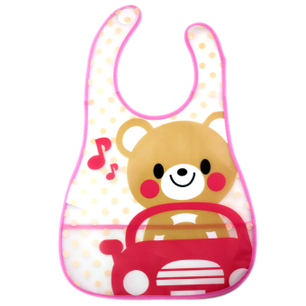 BABY STEPS Bear Jam Baby Washable Plastic Feeding Bib (Pink)