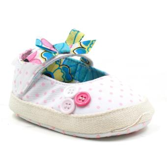 Baby Steps Buttons Ribbon Baby Girl Shoes (White)