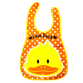 BABY STEPS Love Duck Baby Washable Plastic Feeding Bib (Yellow)