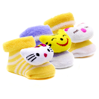 Baby Steps Newborn Baby Girl Socks Set of 3 (Multicolor)