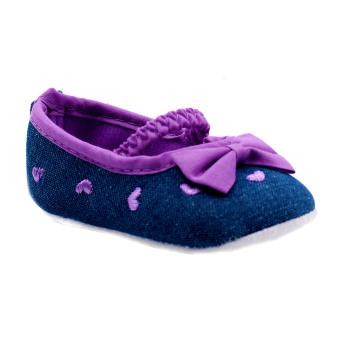 BABY STEPS Ribbon Hearts Baby Girl Shoes (Purple)