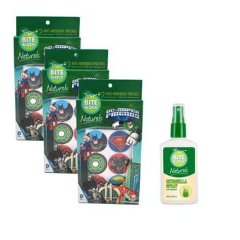 Bite Block Naturals DC Superfriends Insect Repellent CitronellaPatches Set of 3 with Bite Block Naturals Citronella Spray 100mlBundle