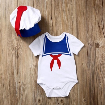 Characteristic Sailor Baby Romper With Hat Toddler Short SleeveSmall Navy Jumpsuit for 0-18M - intl