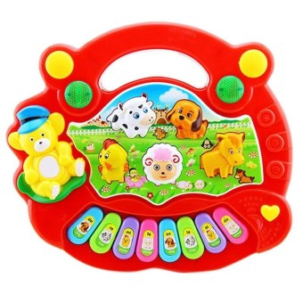 Children Cute Animal Farm Piano Electronic Organ Early Educational Musical Toys for Baby Color:random color - intl