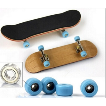 Complete Wooden Fingerboard Finger Skate Board Grit Box Foam TapeMaple Wood Black - intl