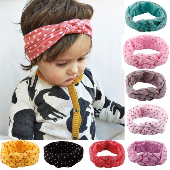 Cotton Babies Hairband Elastic Lovely Printing Knot Design Hair Accessories Kids Wave Point Headband- Grey - intl Price Philippines