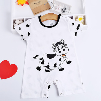 Cotton Baobao thin short sleeved crawling clothes baby coveralls