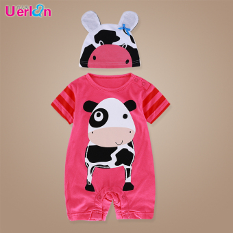 Cotton Short sleeved men and women Baobao romper baby coveralls