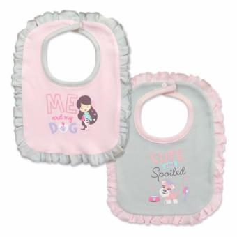 Cotton Stuff - 2-piece Ruffled Snap-On Bib - (Me & My Dog) 0-12 Months Price Philippines
