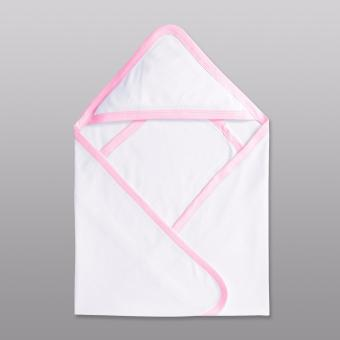 Cotton Stuff - Receiving Blanket W/ Hood (White with Pink)