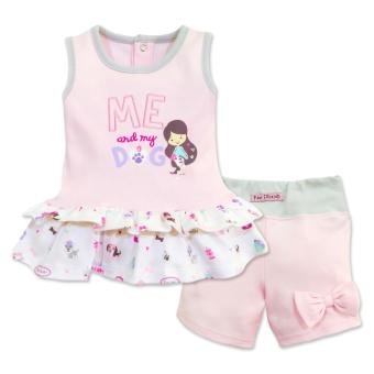Cotton Stuff - Sleeveless Blouse with Ruffles & Shorts with Ribbon Set - (Me & My Dog) 6-9 Months Price Philippines