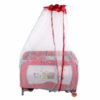 Crest Red Mosquito net Cradle Rocker Play yard Playpen Crib (Red)