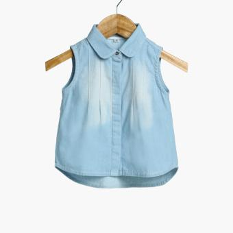Crib Couture Baby Girls Peter Pan Chambray Top (Blue)