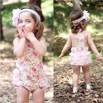 Cute Baby Infant Girls Bodysuit Lace Floral Ruffled Romper Outfits Jumpsuit Dress For 0-24 Months