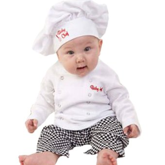 Cute Baby Infant Toddler Chef Costume 3 PCs Set Hat+ White Shirt + Plaid Pants for Boys Girls Suits