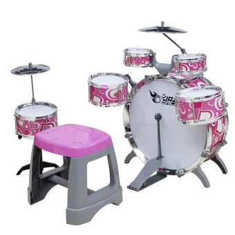 Cute Jazz Drum Musical Toy Set for Girls (Pink)