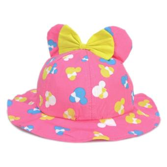 Cute Minnie Mouse Ribbon Hat Pink Red Sunday Bucket Rain Hat SummerHat Minnie Cap for Girls Baby Infant Soft Photography Costume