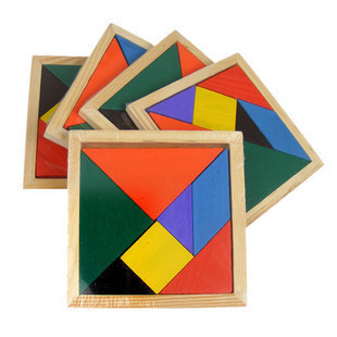 DIY wooden multi-color children's early childhood toys intellectual puzzle Tangram