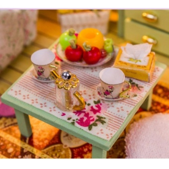 Dollhouse Miniature DIY House Kit Wood Cute Room with LED Furnitureand Cover Girl Gift Toy, Leisure Time - intl