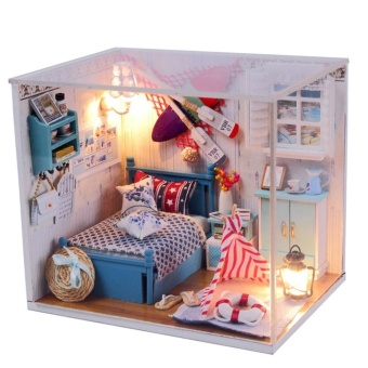 Dollhouse Miniature DIY House Kit Wood Cute Room with LED Furnitureand Cover Girl Gift Toy, Romantic Summer - intl