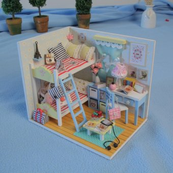Dollhouse Miniature DIY House Kit Wood Cute Room with LightFurniture and Cover Girl Gift Toy, Young Memory - intl