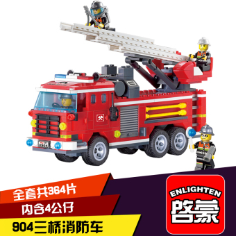 ENLIGHTEN assembled small particles fire truck model fire boat rescue car building blocks