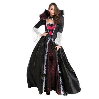 EOZY Fashion Women Vampire Queen Dress Up Cosplay Maxi OutfitHalloween Costume Set One Size (Black) - Intl