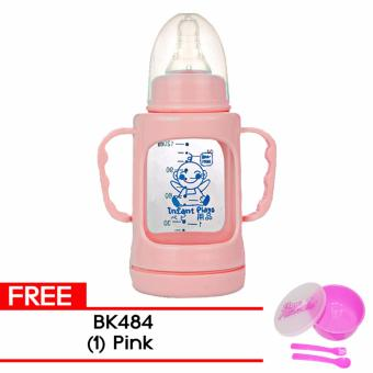 Fashion Baby Kids Glass Milk Feeding Cups with Plastic ProtectCover #4080 - Pink with Free BK-484 (Pink) Price Philippines
