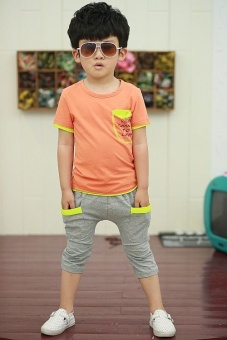 Fashion Boys' Clothing Sets For 3-8 Years Old Kids Cotton T-shirt+Pant Children's Sets - Orange - intl