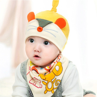 Fashion Cute New Toddler Child Baby Boys Girls Sleep HatCap+Triangle Head Scarf Set(0-3-6-12months)yellow (Intl)