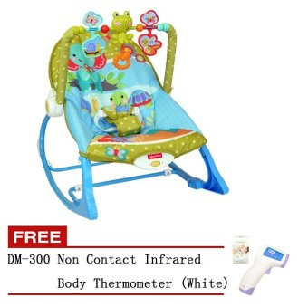 Fisher-Price Infant-to-Toddler Rocker, Elephant Friends With DM-300Baby/Adult Digital Multi-Function Non-contact Infrared ForeheadBody Baby Digital Thermometer