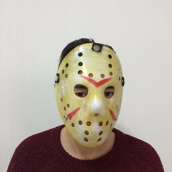 Halloween cosplay costume Porous Mask Jason Voorhees Friday The 13th Horror Movie Hockey Mask yellow -