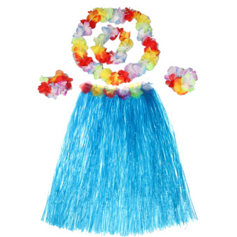 Hawaiian Luau Party Decorations Costumes Set with 40CM Length Skirtand Headwear Headband and Lei Garland and Wristbands Blue