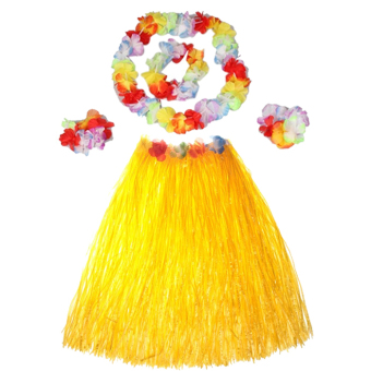 Hawaiian Luau Party Decorations Costumes Set with 40CM Length SkirtHeadwear Headband Lei Garland Wristbands Yellow