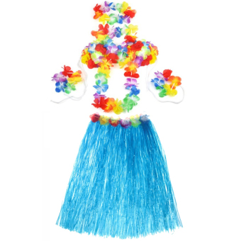 Hawaiian Luau Party Decorations Costumes Set with 60CM Length Skirt and Headwear Headband and Lei Garland and Wristbands and Bra Blue