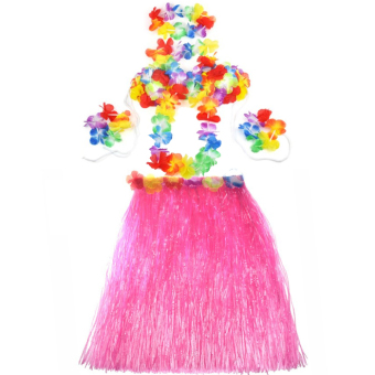 Hawaiian Luau Party Decorations Costumes Set with 60CM Length Skirtand Headwear Headband and Lei Garland and Wristbands and Bra Pink