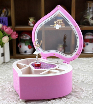 Heart Shaped Ballerina Music Box Jewelry Storage Pink