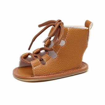 HengSong Baby Girls Toddler First Walker Shoes Roman Sandals(BrownSize 11) - intl
