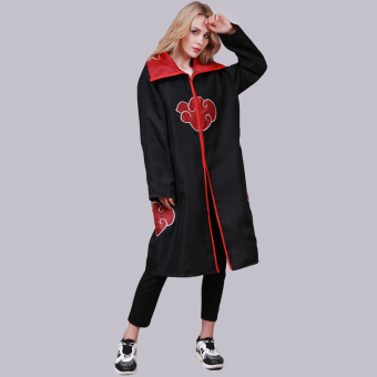HengSong Men Unisex NARUTO Akatsuki Cosplay Costumes Cloak Black Red - intl