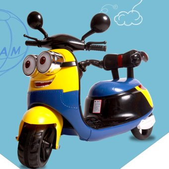 HLM-9988 3 Wheeled Electric Powered Ride On Scooter for Kids (Yellow/Blue)
