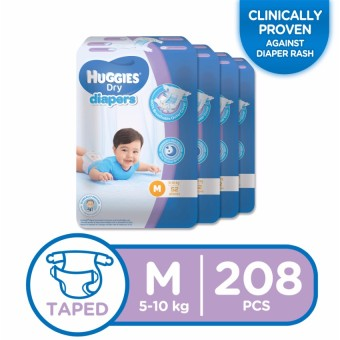 Huggies Dry Diapers Medium - 52 pcs x 4 packs (208 pcs) Price Philippines