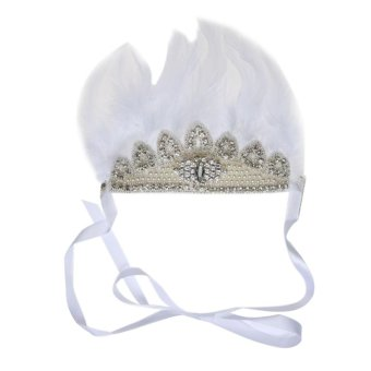 Harga Baby European Bohemian Chic Feather King Crown Hair Party Headband (White) - intl