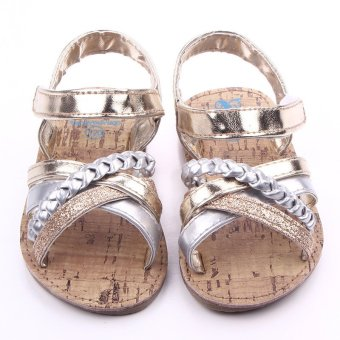Harga Eozy Kids shoes Baby Girls PU Prewalker Sandals Toddler Slipper First Walker Princess Shoe (Khaki)