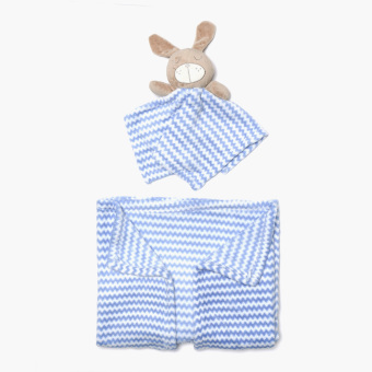 Harga Bloom Chevron Fleece Blanket with Washcloth Rabbit Toy (Blue)