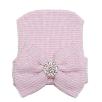 Newborn Baby Infant Girl Toddler Comfy Bowknot Diomand Cap Warm Beanie Hat Pink Price Philippines