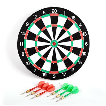 Harga Double Sided Dart Game Thick Target Board with 6 Darts Home Office Outdoor Sports Supplies