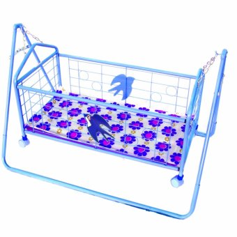 Harga JH Baby Cradle Rocking Crib Bassinet Bed Sleeper Portable Nursery (Blue) with Mosquito Net